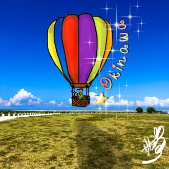 青い空に熱気球